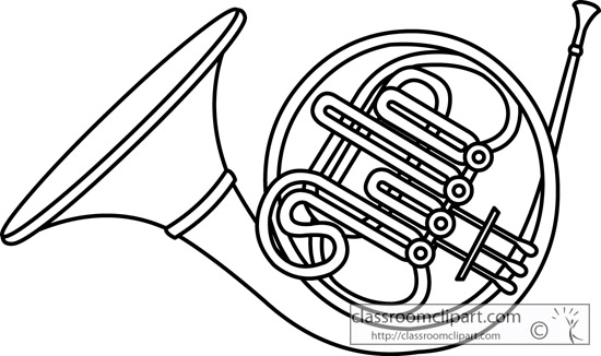 French Horn Brass Instrument Outline 13 Jpg