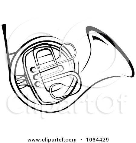 French Horn In Black And White by Vector Tradition SM