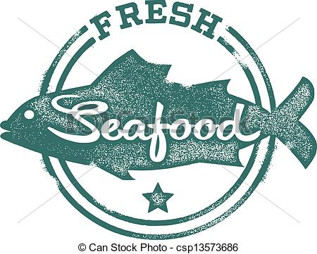 ... Fresh Seafood Menu Stamp - Fresh Fish and seafood stamp.