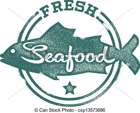 ... Fresh Seafood Menu Stamp - Fresh Fish and seafood stamp.