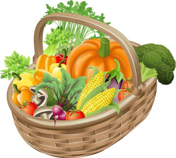 Fresh Vegetables Clip Art | Clip Art of a Basket of Vegetables
