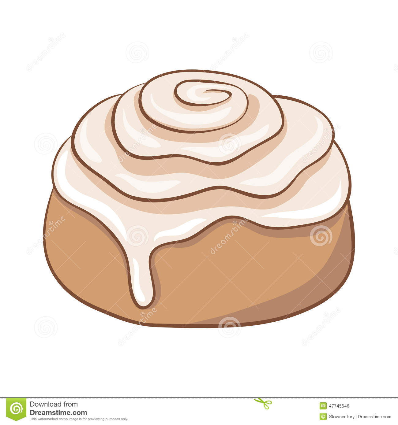 Freshly Baked Cinnamon Roll With Sweet Frosting Stock Vector Image