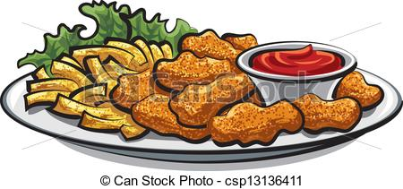 fried chicken nuggets and fri - Chicken Nuggets Clipart