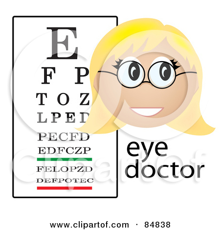 Friendly Female Caucasian Eye Doctor With The Word And A Vision Chart by  Pams Clipart