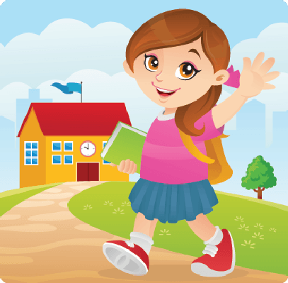 Friendly Girl Going To School .