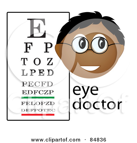Friendly Male Indian Eye Doctor With The Word And Eye Chart by Pams Clipart