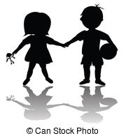 Friends casting shadow of enemity Drawingby stockillustration2/159; Children with toys