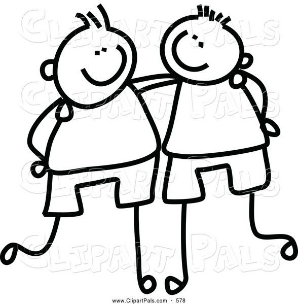 Friends Clip Art Black White - Friends Clipart Black And White