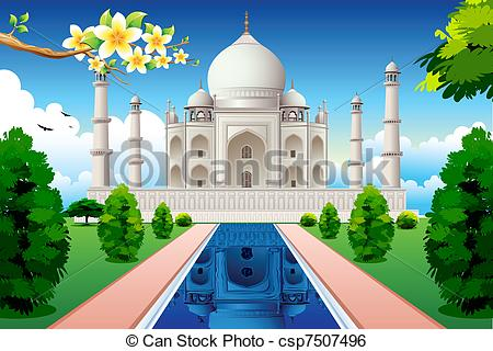 ... Front View of Taj Mahal - - Taj Mahal Clip Art