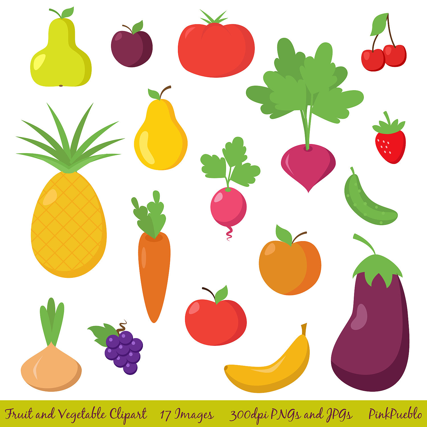 Fruit and Vegetable Clipart Clip Art, Fruit Clipart Clip Art, Vegetable Clipart Clip Art - Commercial and Personal Use