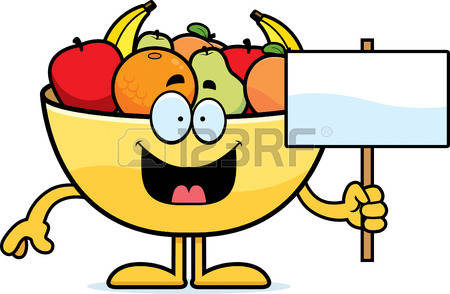 fruit bowl: A cartoon illustration of a bowl of fruit holding a sign.