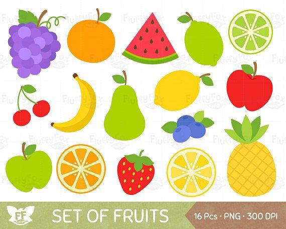 50% OFF Fruits Clipart Fruit Clip Art Grape Banana Pear