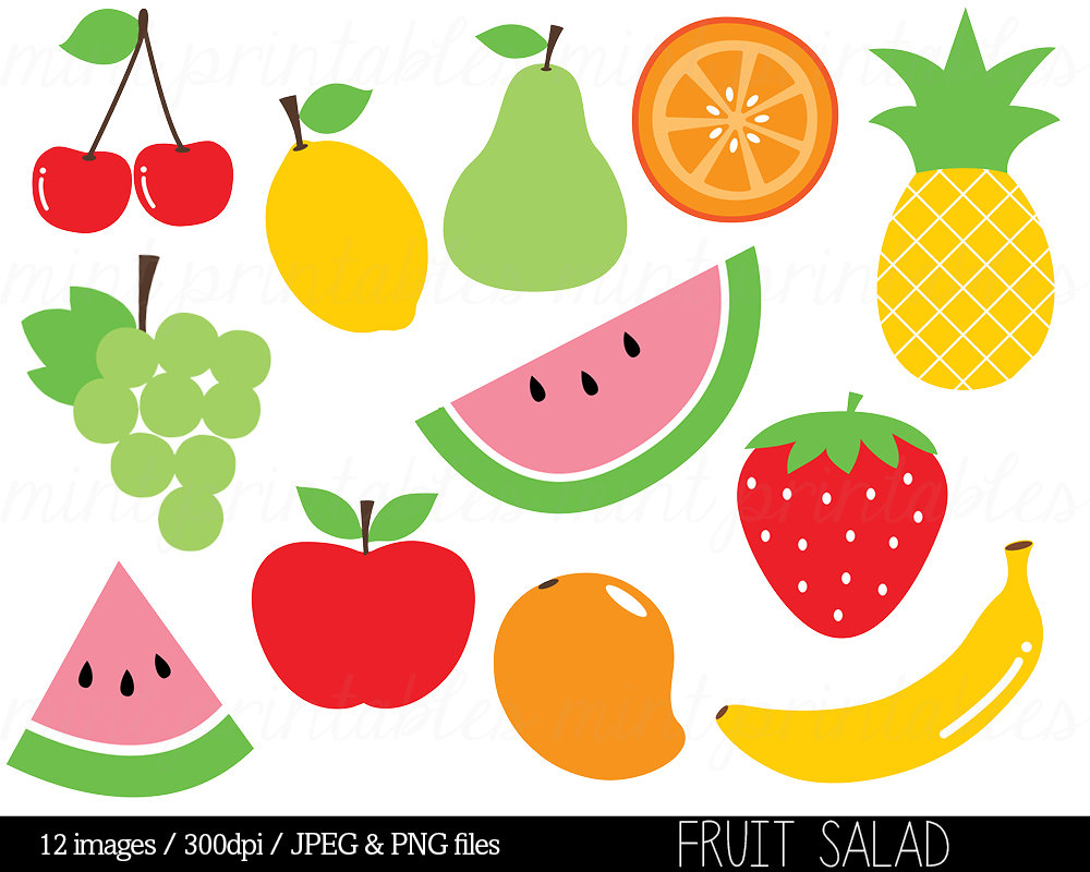 Fruit Clipart Clip Art Fruit Salad Watermelon By Mintprintables