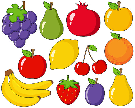 Cute Fruits Digital Clip Art, Grapes, Apple, Bananas, Pear, Plum, Orange,  Cherry Clipart - Instant Download