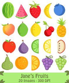 Fruit Clipart by DigitalArtsi on Creative Market Fruit Doodle, Fruit Icons,  Strawberry Clipart,