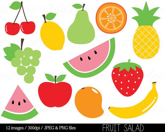 Fruit Clipart Clip Art, Fruit Salad, Watermelon, Pineapple, Apple, Pear,  Cherry, Food Clipart - Comm