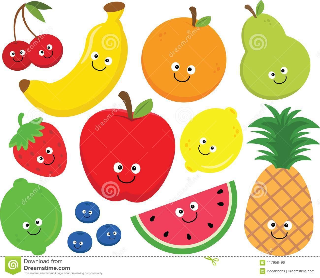 Happy Fruit Clipart Set
