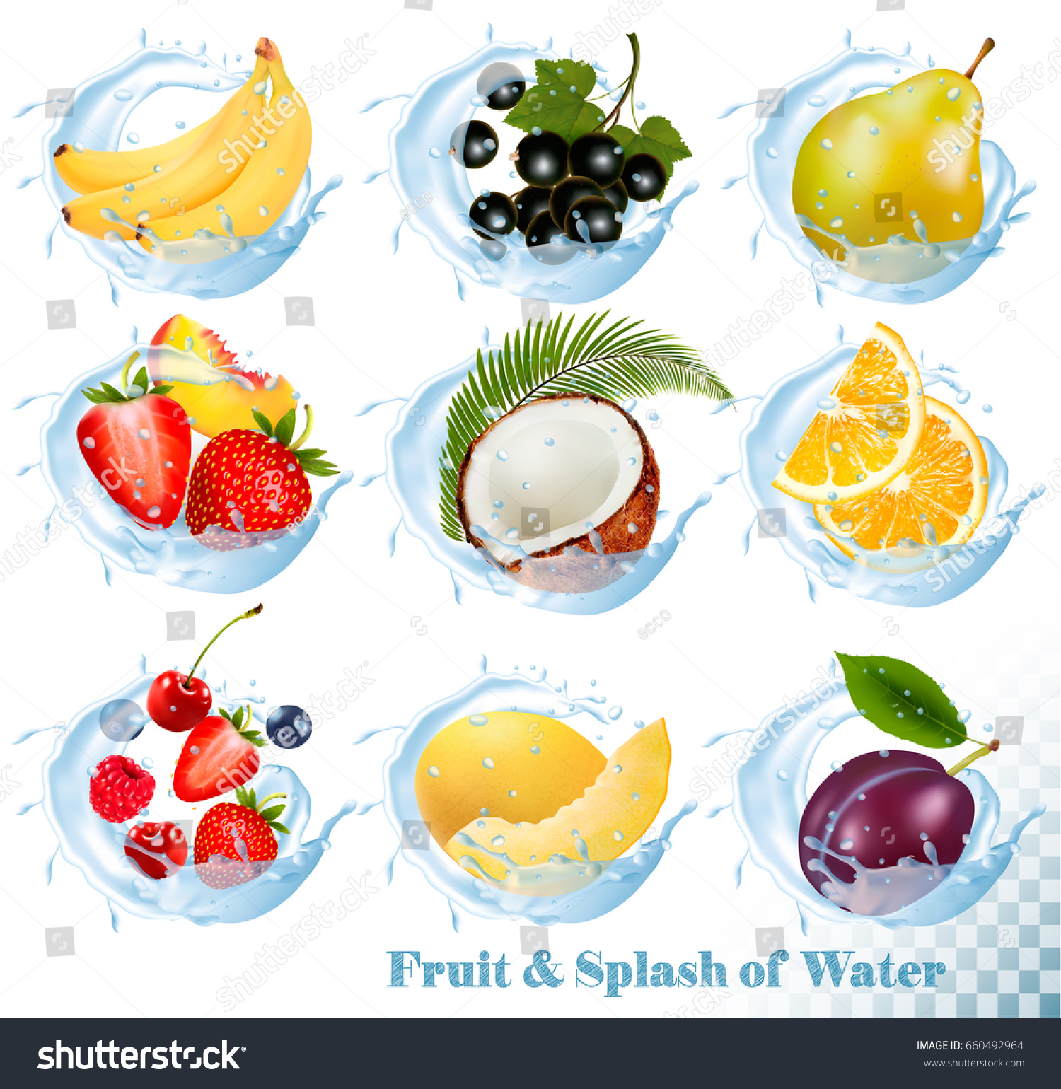 Big collection of fruit in a water splash icons. Banana, coconut, peach,