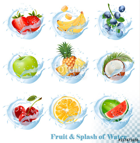 Big collection of fruit in a water splash icons. Pineapple, apple, banana,  watermelon, blueberry, guava, strawberry, coconut, cherry, raspberry,  orange.