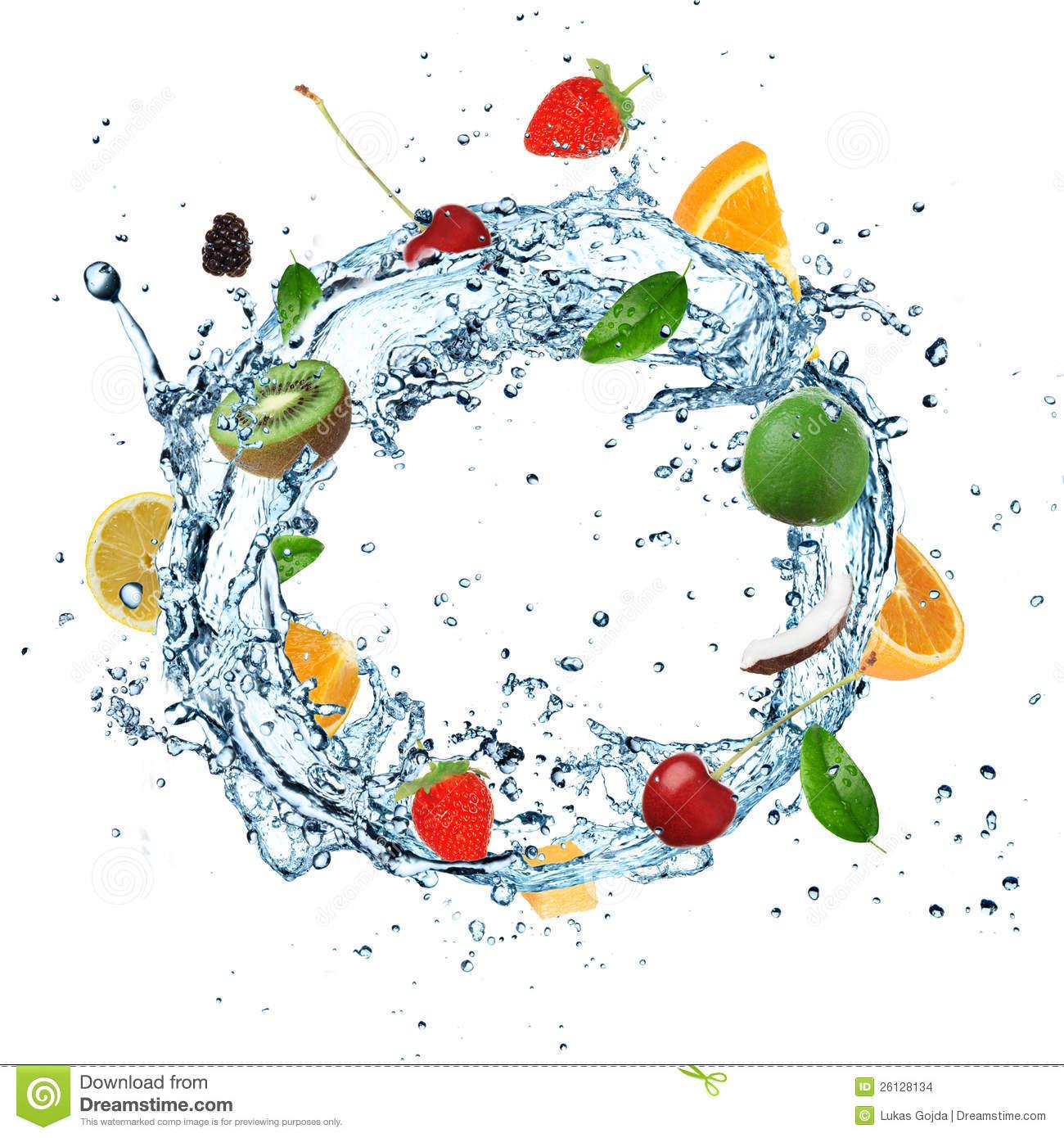 Fruit Water splash - Fruit Water Splash Clipart