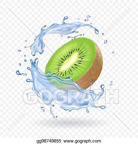 Kiwi fruit and water splash. Fruit fresh