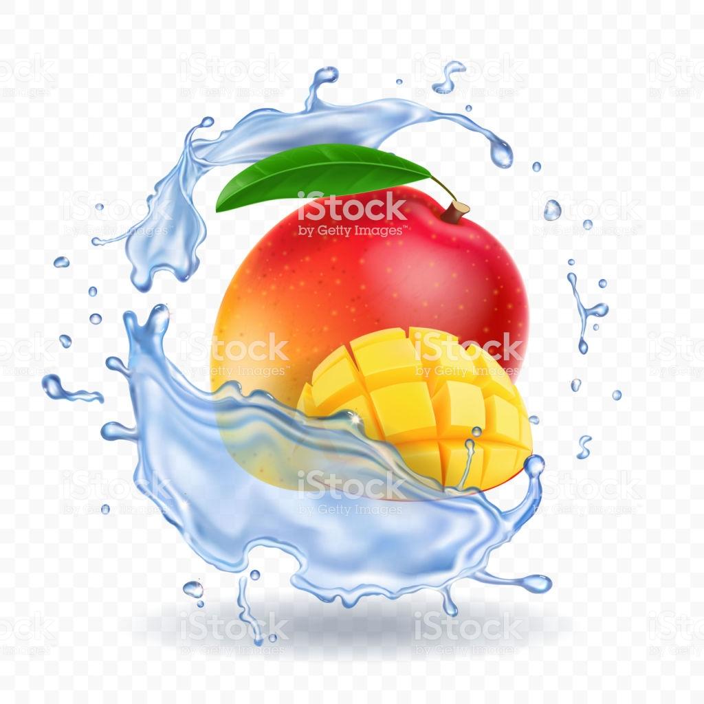 Mango in water splash, fresh fruit realistic icon royalty-free mango in water  splash