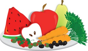 Fruits And Vegetables On A Snack Plate W-Fruits And Vegetables On A Snack Plate Watermelon Apple Carrots-12