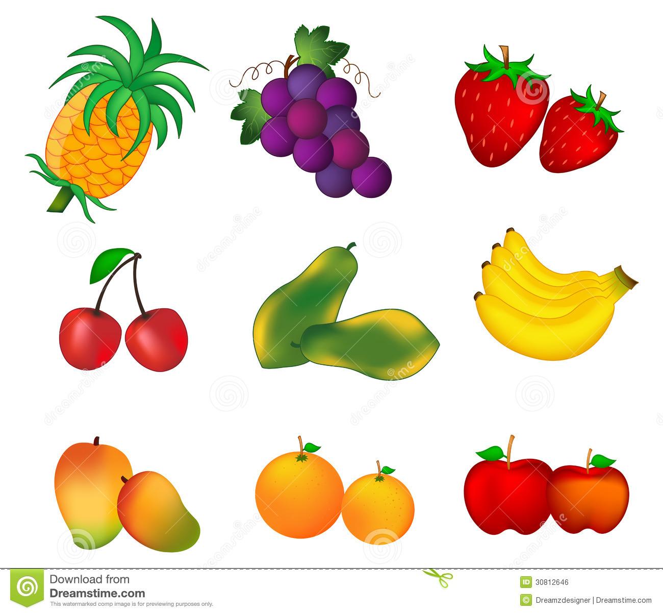 Fruits Isolated On White .-Fruits isolated on white .-17