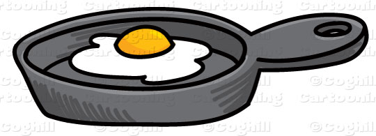 Frying pan with egg cartoon clip art