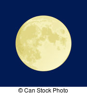 Full Moon - Illustration Of A Full Moon -Full Moon - Illustration of a full moon on a dark blue sky-10