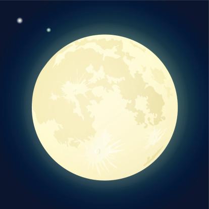 Full Moon on a Dark Blue Sky.