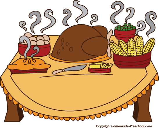 Fun And Free Clipart - Thanksgiving Dinner Clipart
