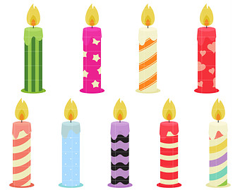 Fun Birthday Candles Digital Clip Art for Scrapbooking Card Making Cupcake Toppers Paper Crafts