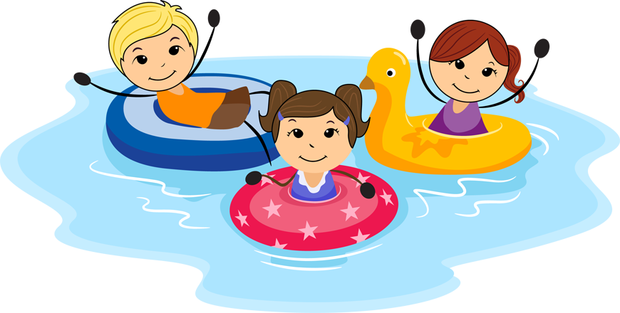 Fun Clip Art; swim kids .