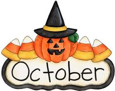 Fun month of october halloween scene clip art calendar topper 2