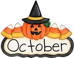 Fun month of october halloween scene clip art calendar topper 2
