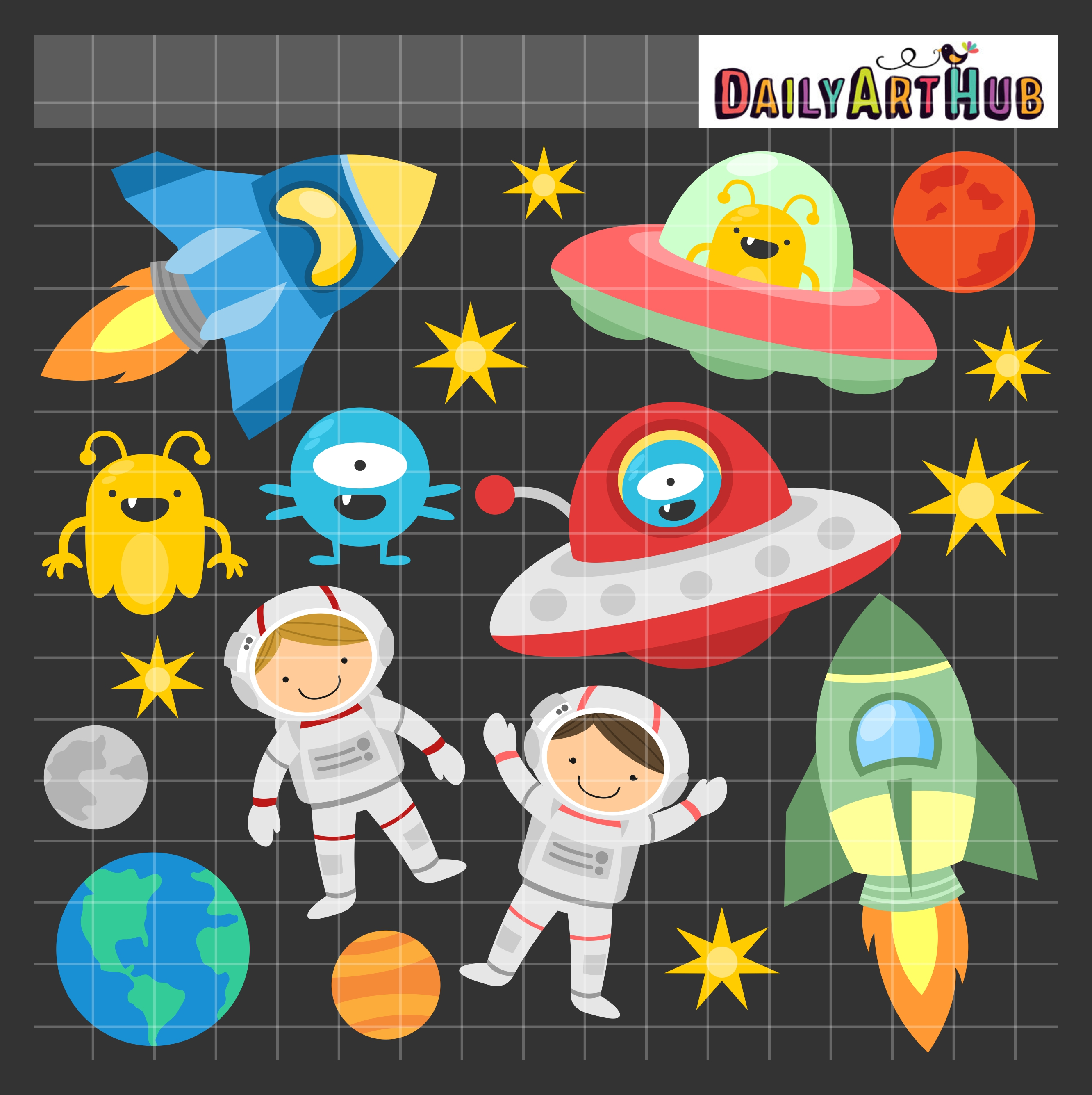 Fun Outer Space Clip Art Set .