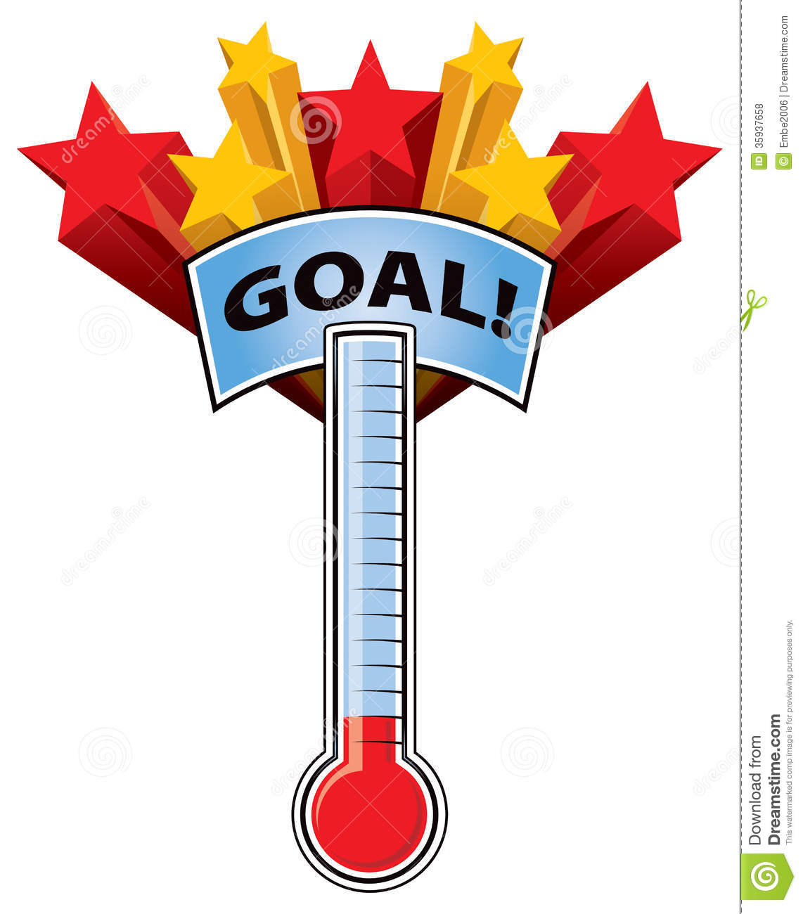Fundraising Thermometer Clip Art Thermometer Goal Mark Stars 35937658