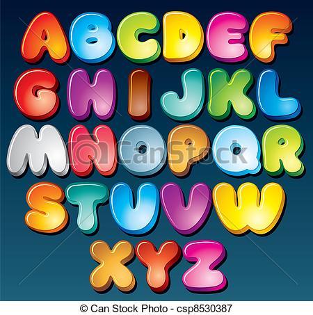 ... Funky Font - Multicolored Cartoon Ve-... Funky Font - Multicolored Cartoon Vector Font, Set of.-16