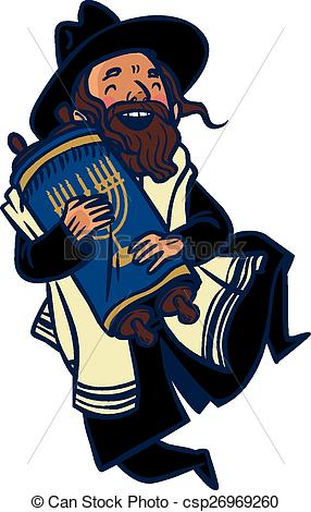 ... Funny cartoon jewish man dancing wit-... Funny cartoon jewish man dancing with Torah. Vector.-16
