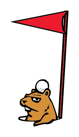 Funny Gopher Golf Clipart: gopher has the golf ball on his head, hilarious clipart