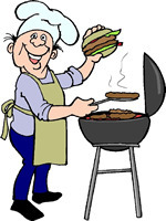 Funny guy cooking on the barbecue grill: free hilarious Labor Day BBQ clip art.