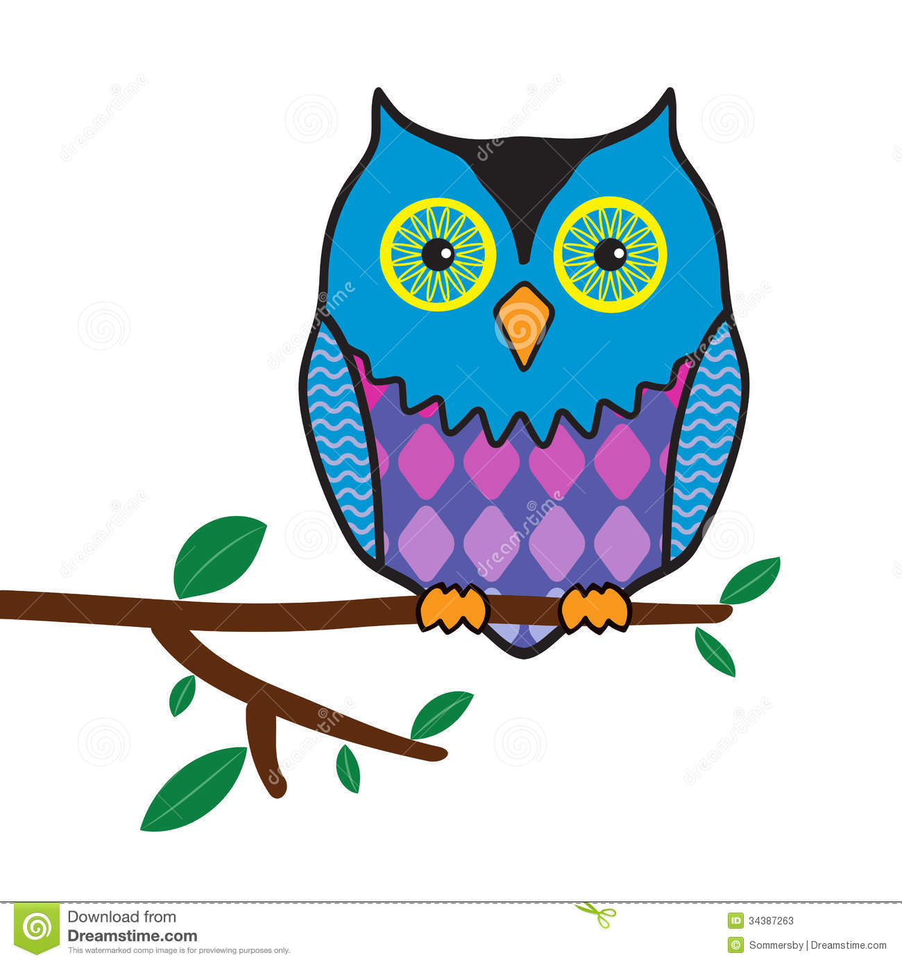 Funny Owl Sitting On A Tree Branch Stock-Funny Owl Sitting On A Tree Branch Stock Photos Image 34387263-5