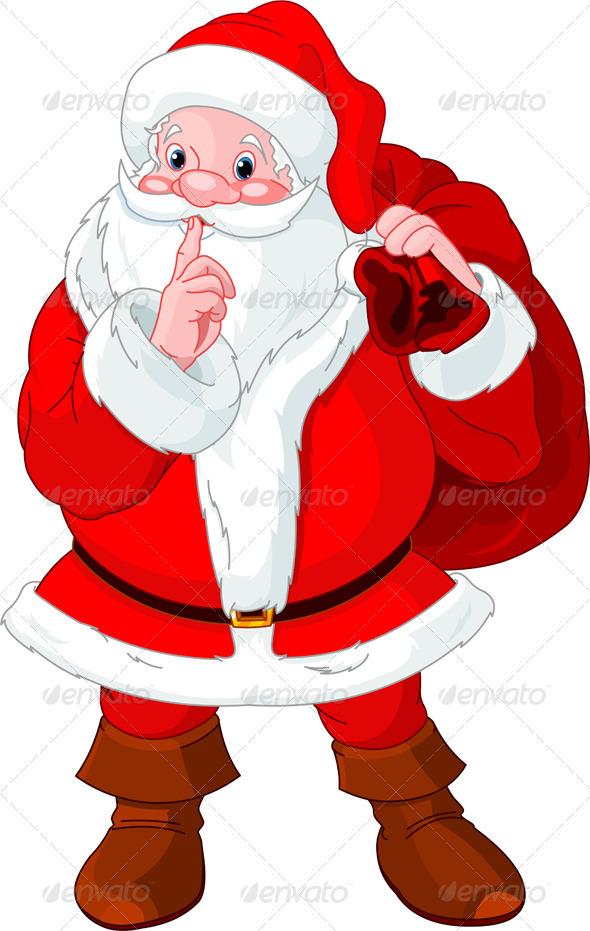Funny Secret Santa Clip Art Santa Claus Gesturing Shush