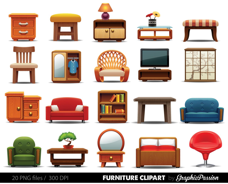 Furniture clipart ,Clipart Furniture, Home decor clipart, Home clipart, Interior clipart, Instant Download, Furniture Digital Clipart Vector