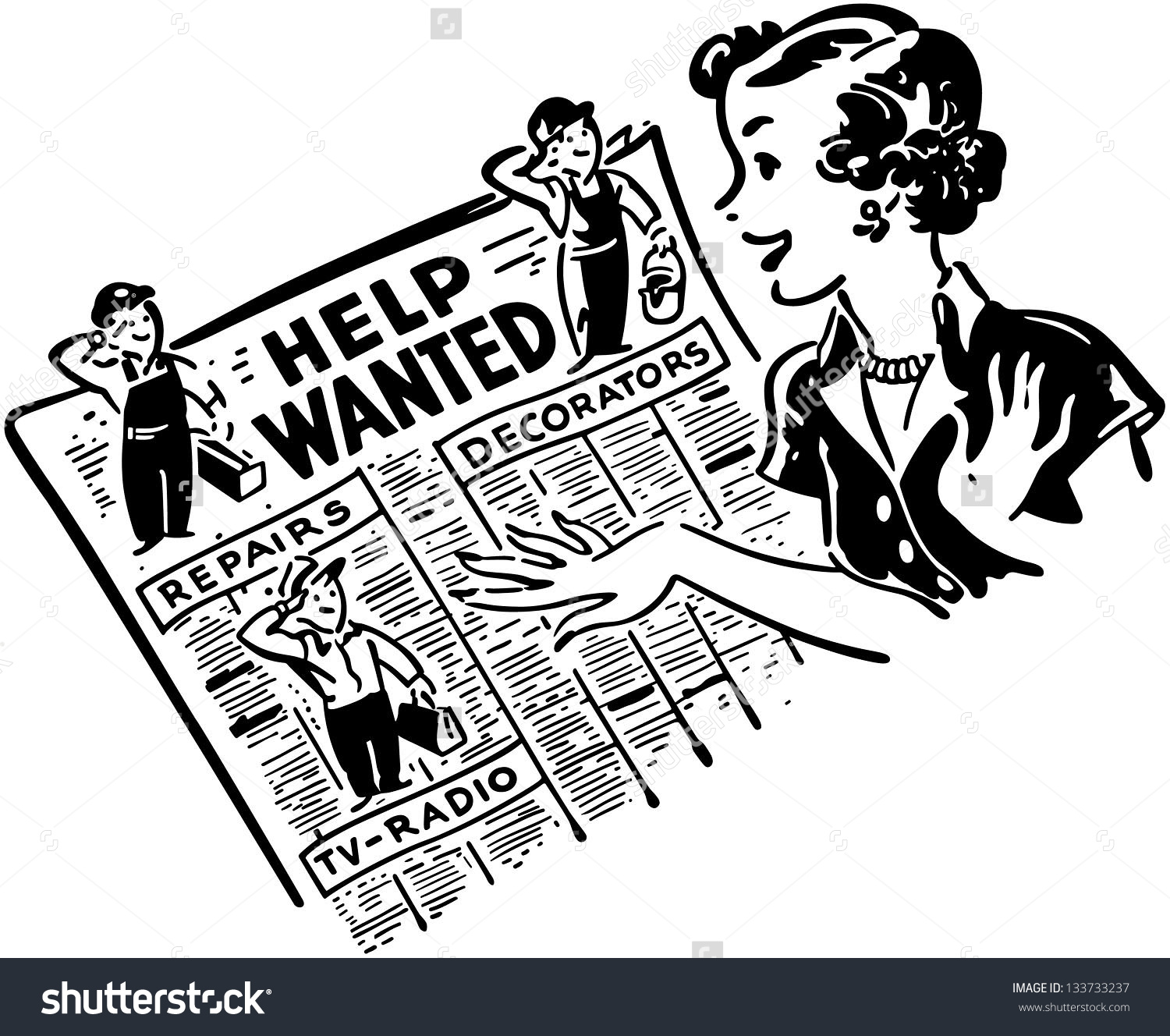Gal Reading Help Wanted Ads - Retro Clip-Gal Reading Help Wanted Ads - Retro Clip Art Illustration-11