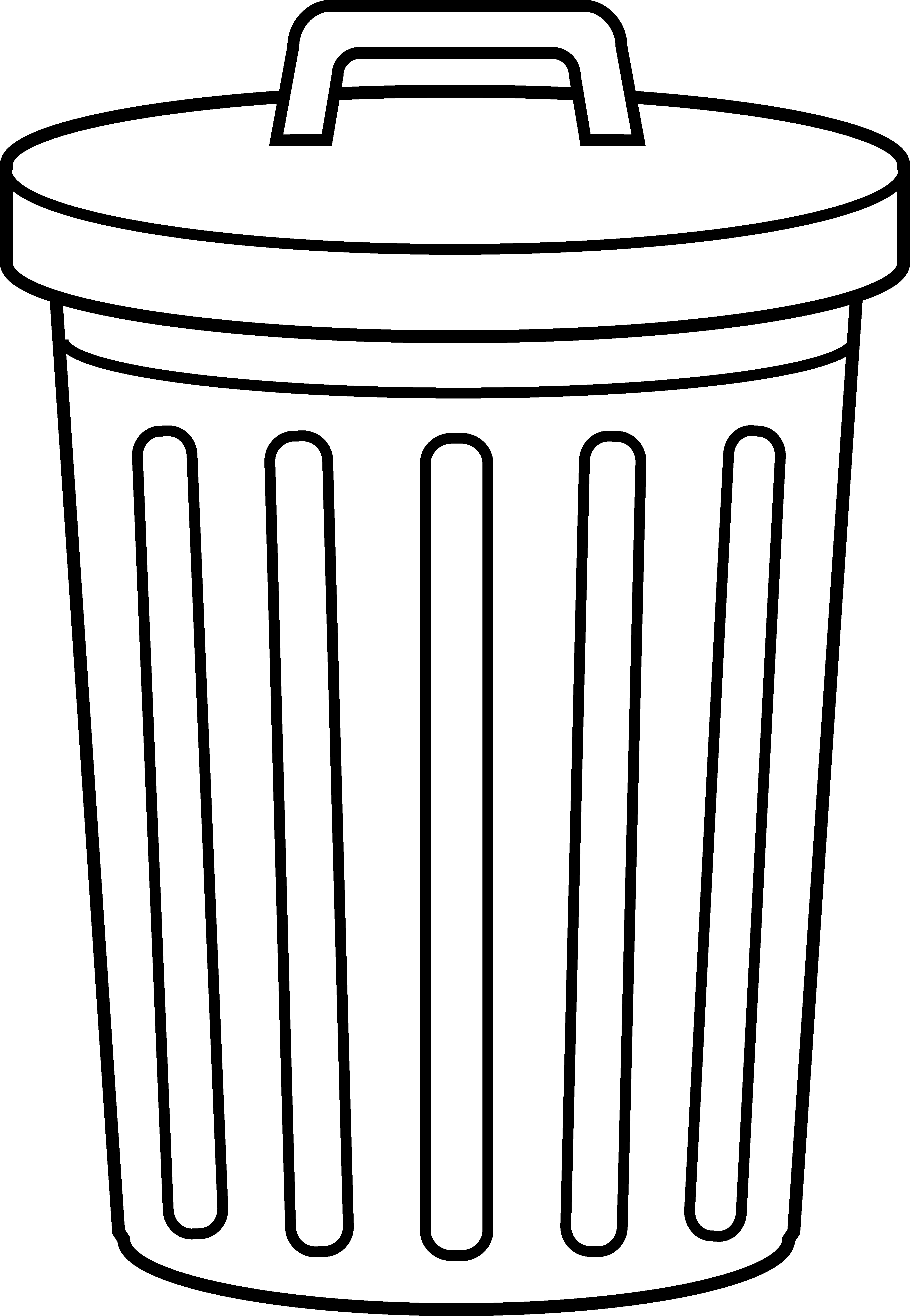 Garbage Can Line Art - Free .