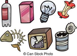 ... garbage objects cartoon illustration set - Cartoon... ...