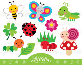 Garden bug cute digital clipart - 14037 Instant download