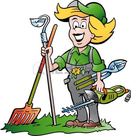 garden maintenance: Vector Cartoon illustration of a Handy Gardener Woman standing with he Garden Tools